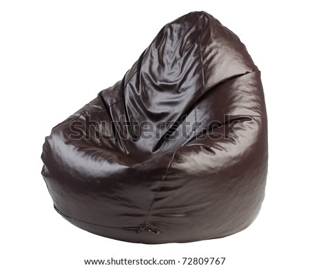 Brown Leather Beanbag Isolated On White