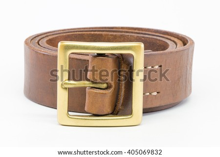 Brown leather belt for men on white background. - stock photo