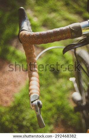 brown leather bicycle handlebars