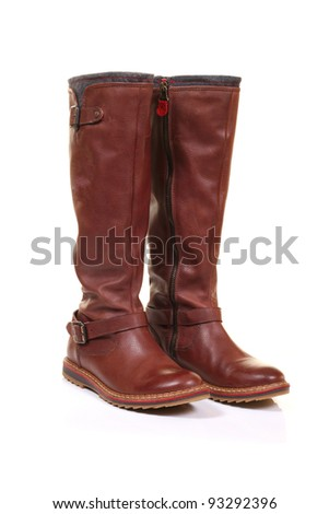 brown leather boots isolated on white background