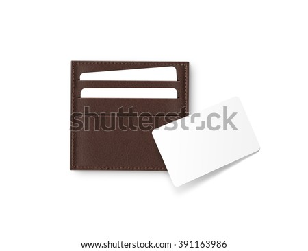 Brown leather card holder with blank white card mock up isolated. Business credit cards mockup in sleeve cardholder pocket. Clear paper visit cards branding identity wallet. Logo design presentation. - stock photo