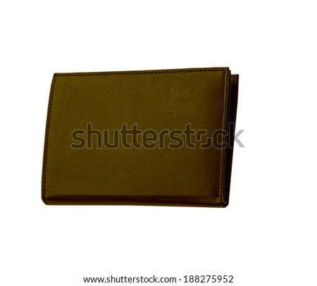 Brown leather case on white background - stock photo