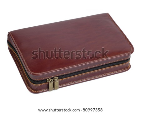 brown leather case with zipper isolated on white