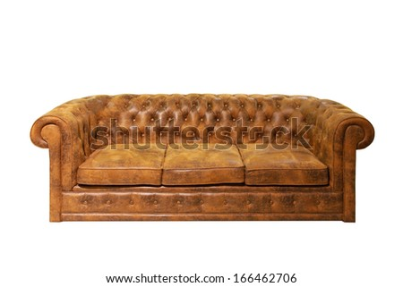 Brown leather Chesterfield sofa isolated included clipping path - stock photo