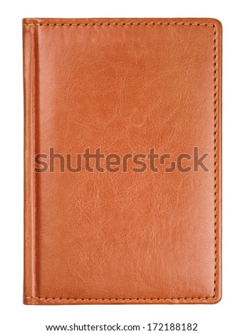 Brown leather diary book cover isolated on white with clipping path - stock photo