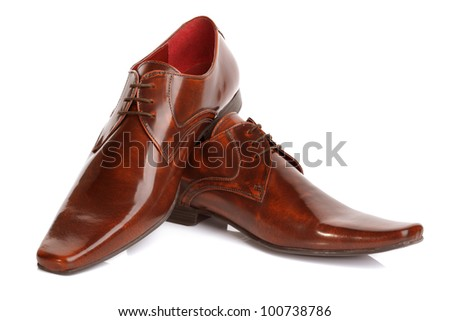 Brown leather fashion shoes isolated on white - stock photo