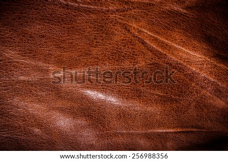 Brown Leather for Concept and Idea Style of Fine Leather Crafting, Handcrafts Workspace, Handmade, handcrafted, leather worker. Background Textured and Wallpaper. Vintage Rustic. - stock photo
