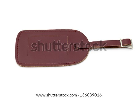 Brown leather Luggage tag isolated on white background - stock photo
