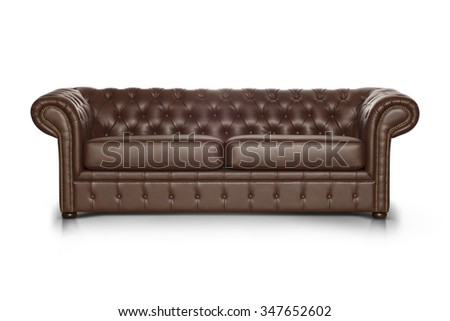Brown leather Luxurious sofa isolated on white background, front view.