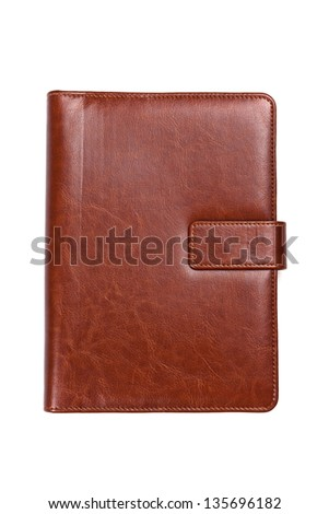 Brown leather notebook on a white background