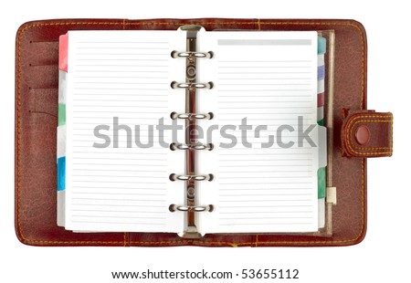 Brown leather notepad notebook organizer lined opened with clipping path isolated on white background - stock photo