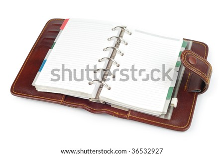 Brown leather notepad with clipping path isolated on white background - stock photo