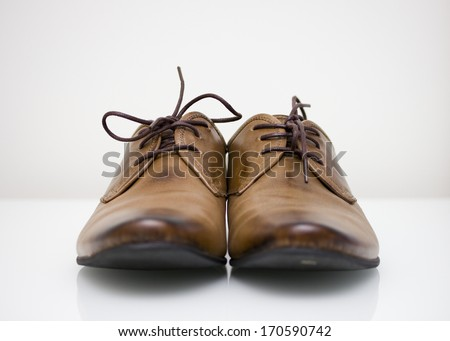 brown leather oxford shoes - stock photo