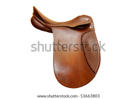brown leather saddle on white background,