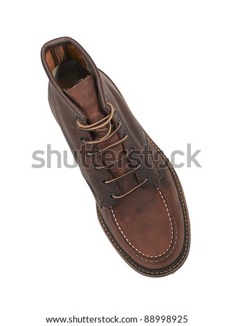 Brown leather shoe for man isolated - stock photo