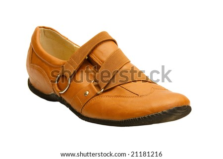 Brown leather shoes isolated over white background