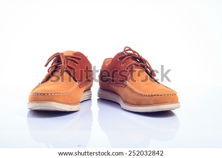 Brown leather shoes Isolated white background - stock photo