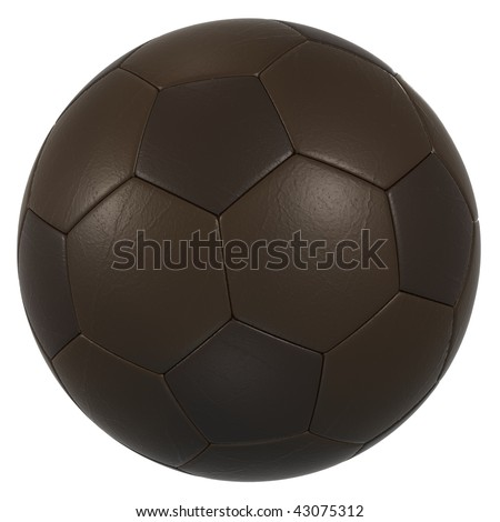 brown leather soccer ball high resolution isolated on a white background