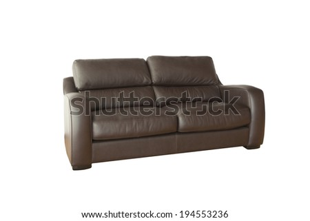 Brown leather sofa isolated on white background with clipping paths - stock photo