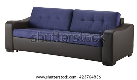 Brown leather sofa isolated on white include clipping path