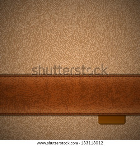 Brown leather stripe on beige leather background - raster version - stock photo