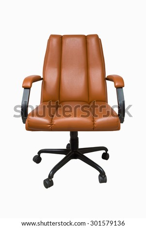 Brown Leather Tilt Swivel Office Chair with Casters. - stock photo