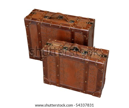 Brown leather travel bags with a white background. - stock photo