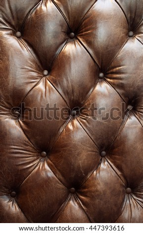 brown leather upholstery background,closeup texture - stock photo