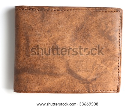 brown leather wallet - stock photo