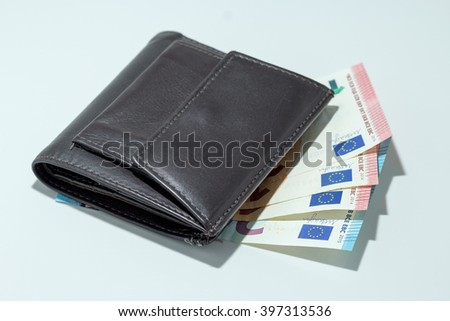 Brown leather wallet isolated