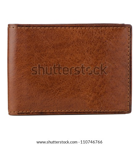 Brown leather wallet isolated on white background.