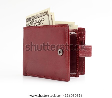 brown leather wallet open with money isolated on white background