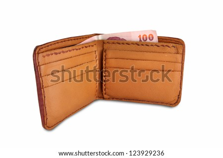 Brown leather wallet with money and Clipping Part - stock photo