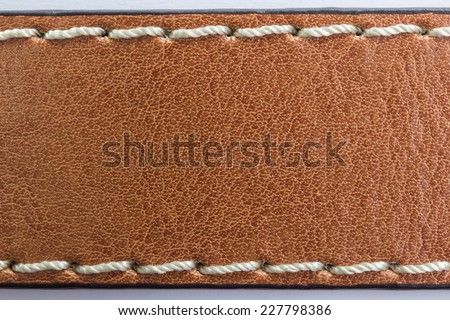 Brown Leather with thread sewed texture background - stock photo
