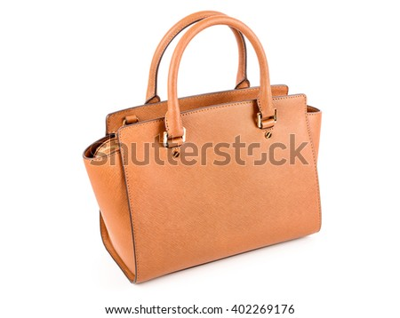 Brown Leather Woman Bag On White - stock photo