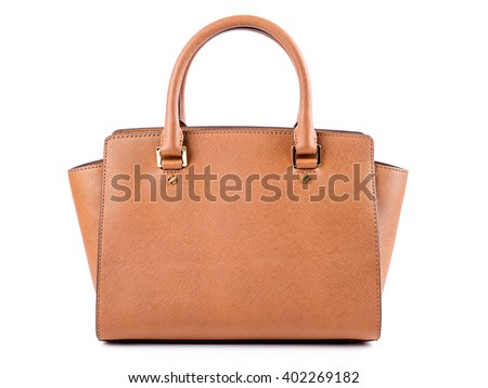 Brown Leather Woman Bag On White