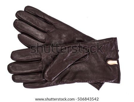 Brown leather womens gloves Studio Photo