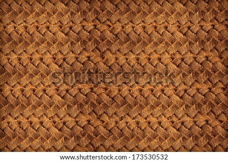Brown leather woven background - stock photo