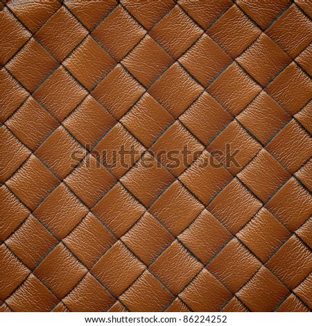 Brown leather woven texture background - stock photo