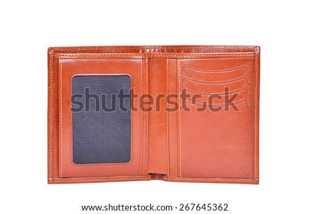 Brown leathter wallet isolated on white - stock photo