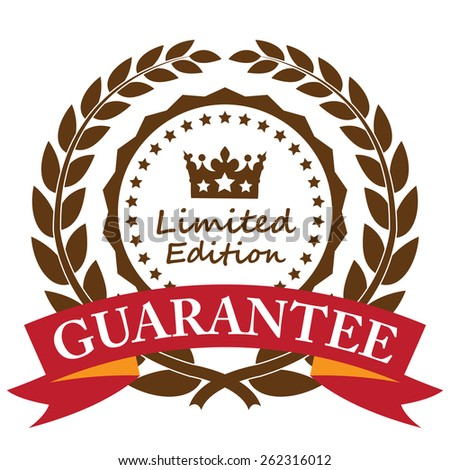 Brown Limited Edition Guarantee Wheat Laurel Wreath, Ribbon, Label, Sticker or Icon Isolated on White Background - stock photo