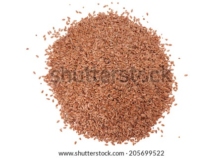 Brown Linseed or Flax seed isolated on white background - stock photo