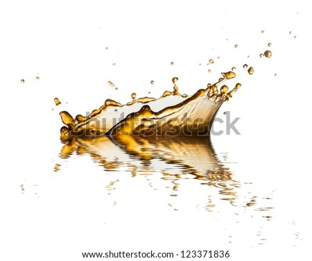 Brown liquid splash of coffee or cola, isolated on white background - stock photo