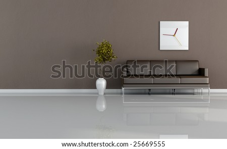 brown living room with plant and modern clock