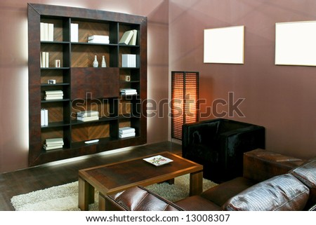 Brown living room with wooden book shelf
