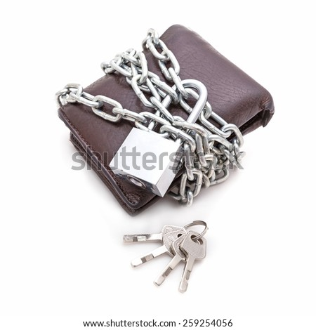 Brown locked wallet with master key lock  isolated on white background - stock photo