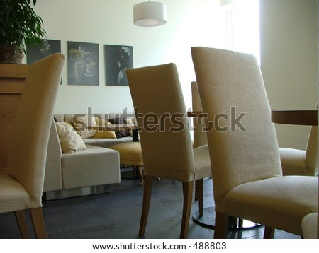 brown lounge interior - stock photo