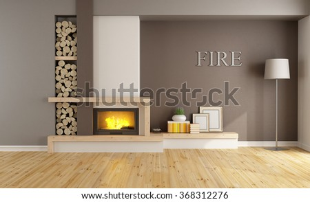 Brown lounge with minimalist  fireplace, without furniture - 3D Rendering - stock photo