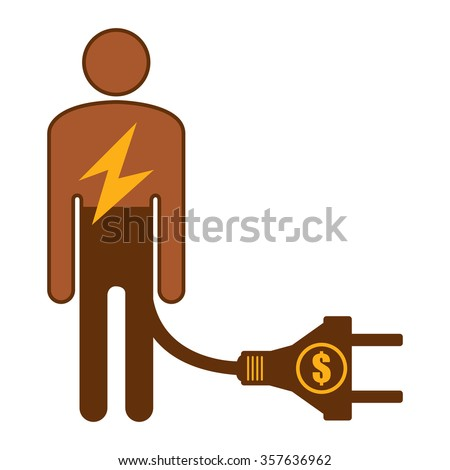 Brown Low Battery Businessman With Dollar Currency Cash Power Cable Infographics Flat Icon, Sign Isolated on White Background - stock photo
