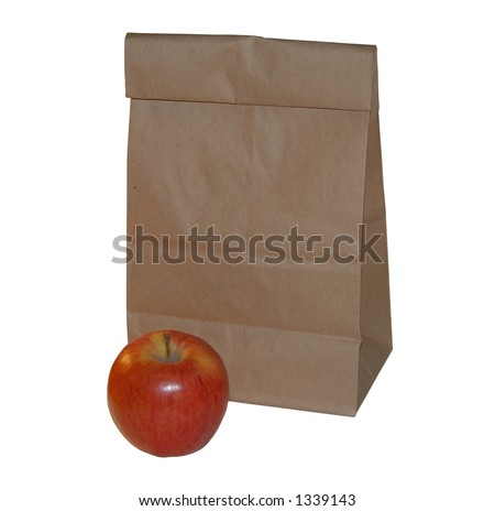 Brown Lunch Bag and Red Apple